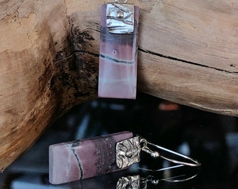 Pink Chohua Jasper Earrings, Dangle Earrings, Patterned Silver Accents, Hand Forged Silver Ear Wires, Natural Stone, Artisan
