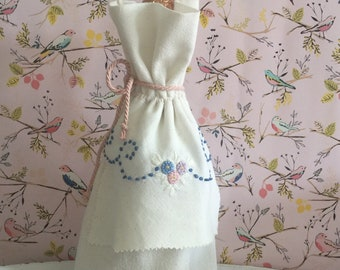 Vintage flour sack wine/gift bag adorned with a hand embroidered linen