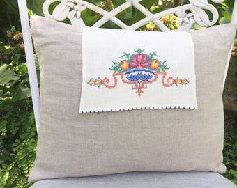 Handmade Hand Embroidered Vintage Cross Stitch Doily Pillow