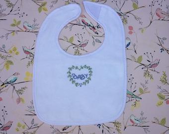 Hand Embroidered Heart Wreath Baby Bib