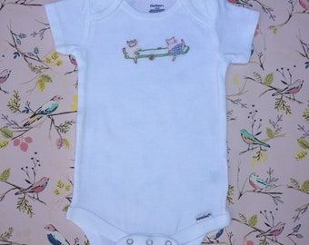 Hand Embroidered Kitties on Teeter Totter 3-9 Month 100% cotton Onesie