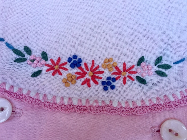 Handmade Vintage Pink Baby Sunsuit With A Handmade Beaded Baby Bracelet