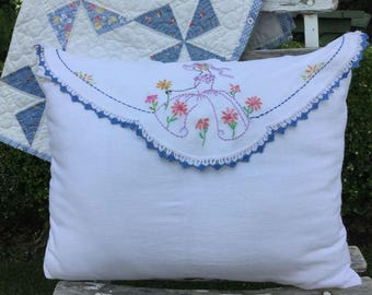 Handmade Vintage Hand Embroidered Lady in Garden Doily Pillow