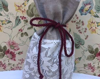 Handmade linen vintage wine/gift bag