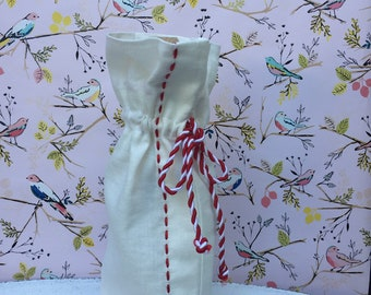 Handmade linen wine/gift bag with red trim