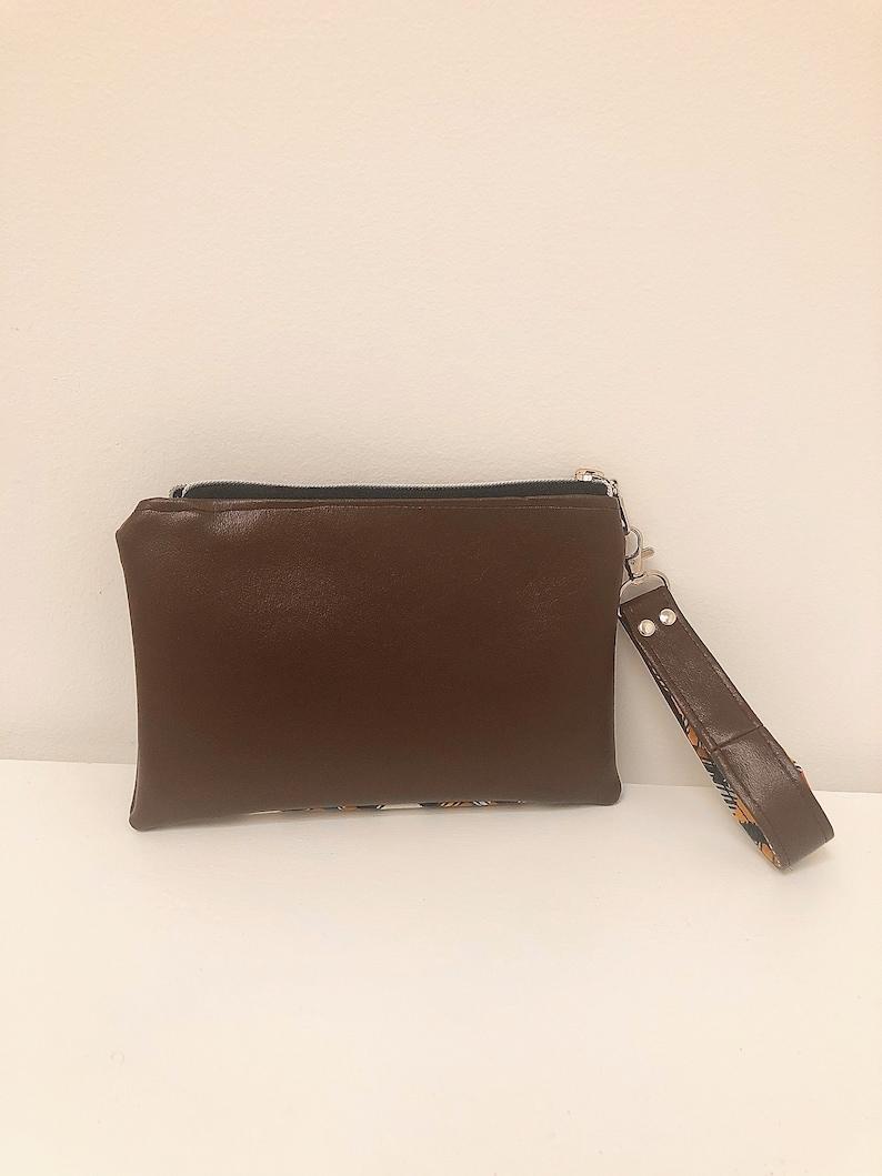 Bright Yellow Travel Accessory Wristlet Strap Teen Bag Chocolate Fall Bag Brown Boho Wristlet Geometric Yellow Wallet Metal Zipper