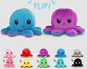 The New Double-Sided Flip Octopus Doll, Octopus Plush Toys, Reversible Plush, Emotional Mood Octopus Toys Flip Moody, Happy, sad Inside Out.