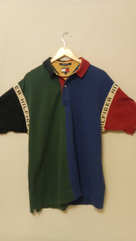 1c08b37ed Vintage Tommy Hilfiger Spell Out Color Block Polo Shirt | Etsy