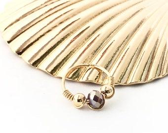 Small gold hoop earring, Beaded helix hoop, Gold cartilage earring, gold helix piercing jewelry 20g hoop, 10mm beaded hoop