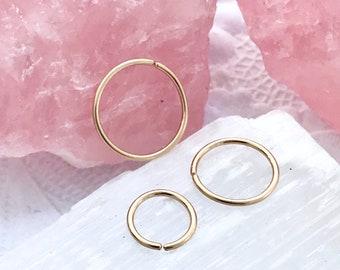 Plain gold hoop earrings, Cartilage hoop, Gold helix earring, 18g 22g 20g septum jewelry, 6mm nose ring, Snug septum 8 10 12 4 5mm 16g hoop