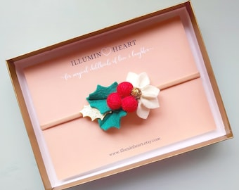 holly Floral headband nylon headband christmas felt flowers red felt