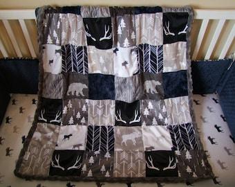Navy Gray Woodland Minky Blanket  -  Designer Bedding - Woodland Bedding - Deer Blanket -Woodland Bedding -Navy Gray Blanket