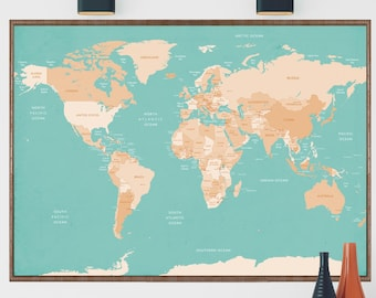 World Map Print Etsy - Large detailed world map poster