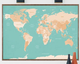 World map poster etsy world map world map wall art world map print world map poster gumiabroncs Choice Image