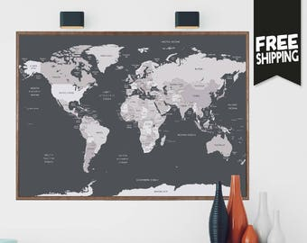 world travel map etsy
