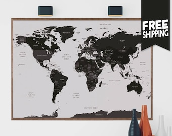 World map poster etsy world map world map wall art world map print world map poster large wall map world travels map map art world map decor travel map gumiabroncs Image collections