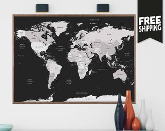 Push pin travel map wall art print extra large wall art push world map world map wall art world map print world map poster large wall map world travels map map art world map decor travel map gumiabroncs Choice Image