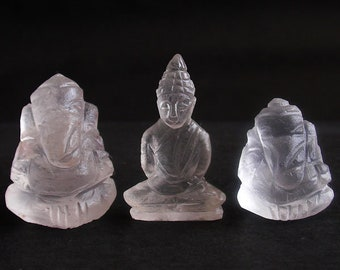 Handmade Handcarved white ice snow Quartz 2 Lord Ganesh-1 Buddha in meditation posture Thai quartz, thai crystal, hindu buddha statue