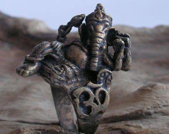 OLD Lord Ganesh Ganesha Elephant Yoga Meditation Hindu Indian Lucky talisman bronze brass Buddha Amulet Ring