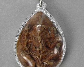 Vintage Lord Ganesh Ganesha Elephant Hindu Magic Buddha Amulet Pendant
