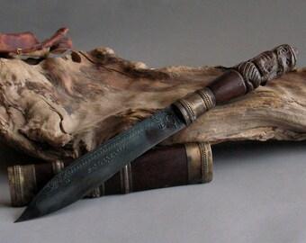 "Vintage 9.5"" Long Holy Knife Meed Mor Carved Handle Lord Ganesh Ganesha Elephant Thai Shaman Shamanic Ritual Holy Knives Knife Sword Blade"