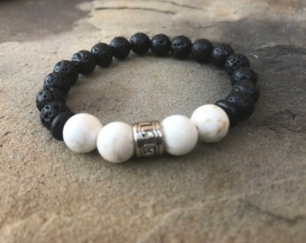 Men's Black w/ White Marble Bracelet
