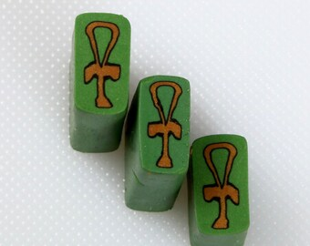 Raw uncured Egyptian Ankh polymer clay cane