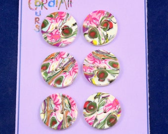 Sewing Buttons - set of 6 Mokume Gane. Polymer clay buttons