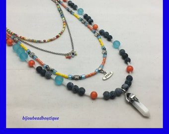 Multi-strand Bohemian Necklace / Dragon's Vein / White Turquoise / Modern Gypsy / Urban Hippie / Avant Garde Styling / One of a Kind /