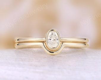 Minimalist Diamond Engagement Ring Set, Art deco yellow gold bezel set ring,Curved dainty matching wedding bridal set anniversary promise