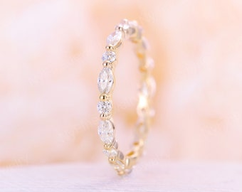 Moissanite wedding band yellow gold wedding band vintage Marquise cut moissanite stacking matching Unique Full eternity Bridal Promise Gift