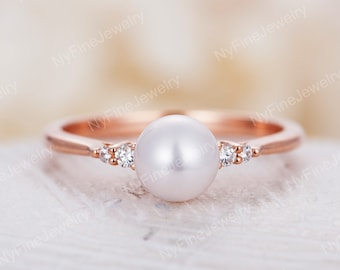 53c10b70c9814f Pearl engagement ring rose gold Diamond wedding women Dainty Bridal set  Jewelry Unique delicate Birthstone Promise Anniversary gift for her