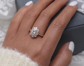 Vintage moissanite engagement ring 14k yellow gold diamond halo Art deco wedding ring diamond cluster engagement ring anniversary promise
