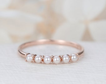 Rose Gold ring pearl ring Solid 14K gold wedding ring Dainty Bridal set Delicate Promise Stacking Birthstone day Anniversary gift for women