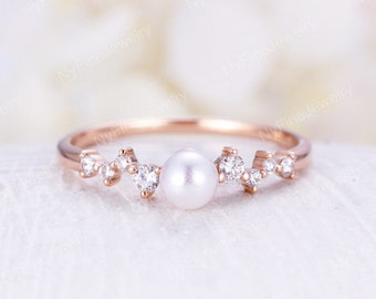 a2c3e3a03f8f16 Akoya Pearl engagement Ring Rose Gold Saltwater Pearl Diamond Mini Unique  Cluster Wedding Women Twig Bridal set Delicate Multi Gift Promise