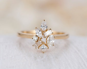 0.5CT Diamond Cluster ring vintage engagement Ring yellow Gold Baguette Pear Marquise shaped ring art deco ring wedding Women Bridal jewelry