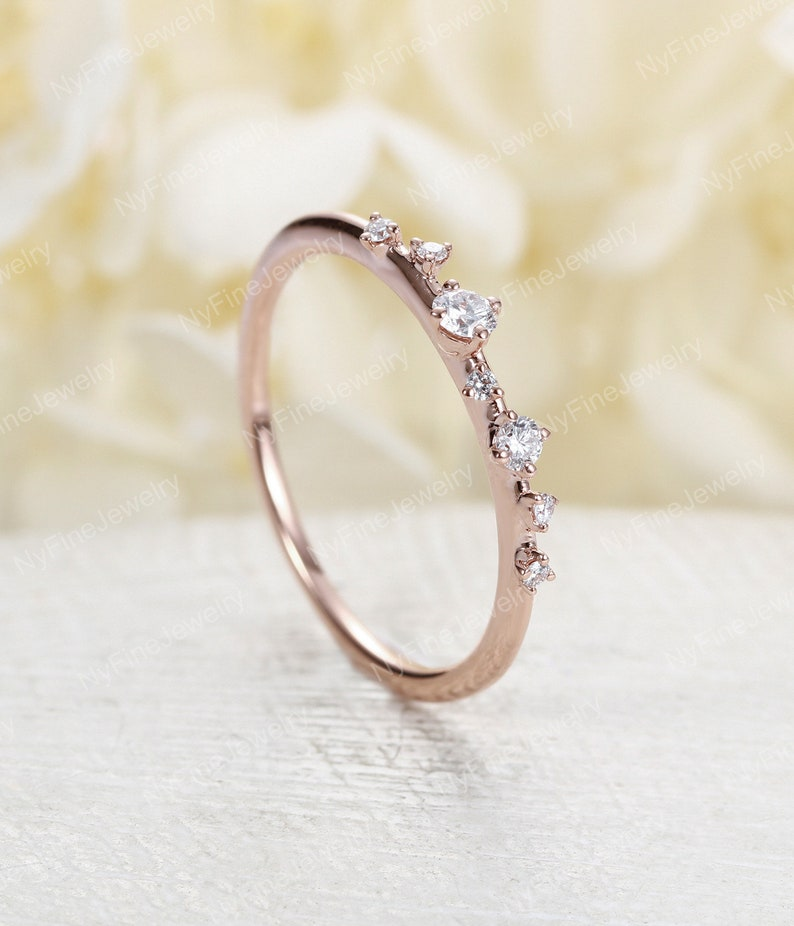 cc2318209da25 Diamond Cluster Ring Twig Engagement Ring Floral Unique Wedding Band  Snowflake rose Gold Dainty Flower Mini Tiny Anniversary Promise gift