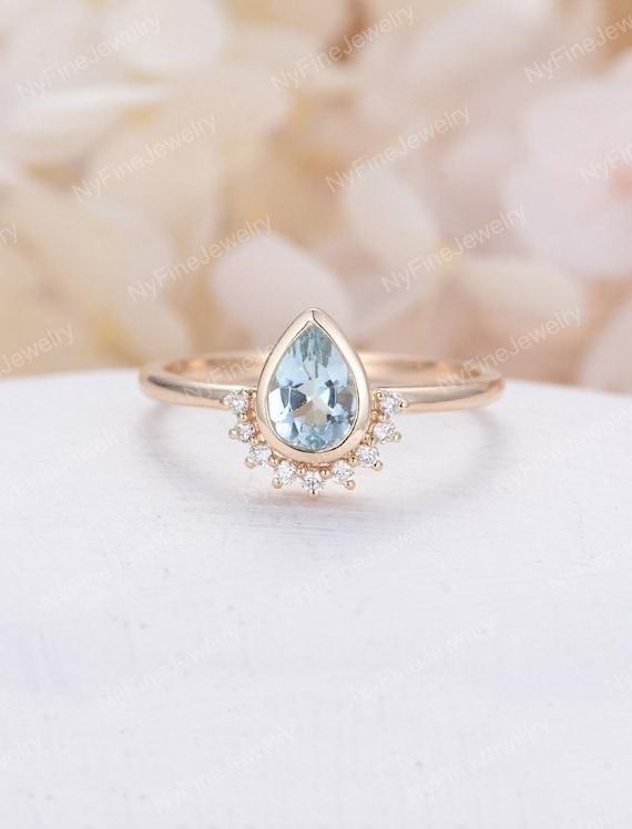 Pear Shaped Aquamarine Engagement Ring Rose Gold Unique Etsy