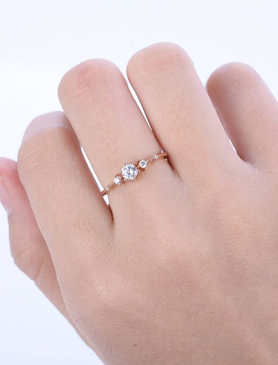 Unique Diamond Engagement Ring Rose Gold Vintage Diamond Etsy