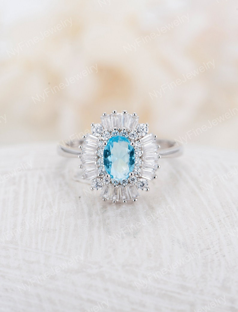 Aquamarine Engagement Ring Vintage Unique Engagement Ring Etsy