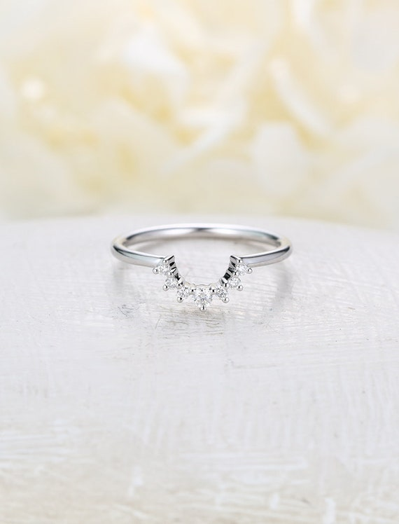 Curved Wedding Band Vintage White Gold Diamond Ring Unique Etsy