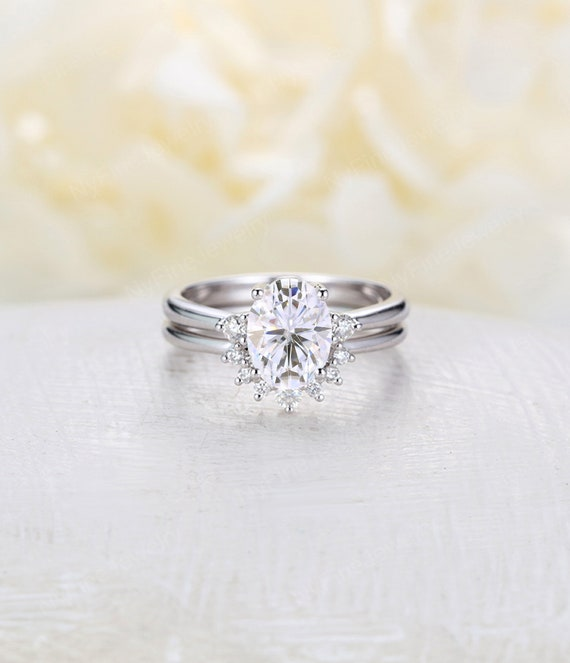 Oval Cut Moissanite Engagement Ring Set White Gold Engagement Etsy