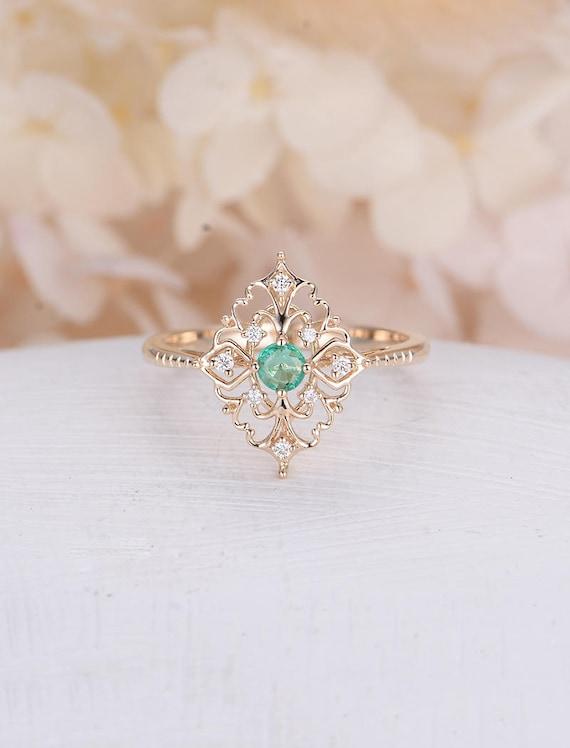 Vintage Emerald Enement Rings | Art Deco Engagement Ring Vintage Antique Emerald Engagement Etsy