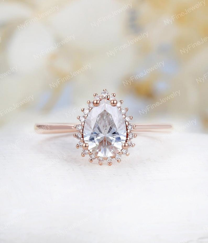 Pear Shaped Moissanite Engagement Ring Rose Gold Unique Etsy