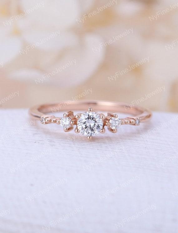 moissanite engagement ring rose gold vintage engagement ring art deco  diamond wedding women Promise jewelry Anniversary gift for her