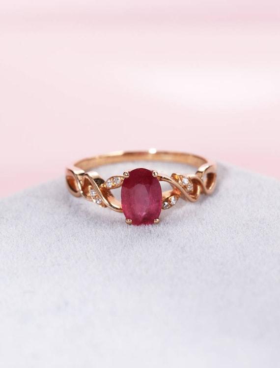 Vintage Engagement Ring Rose Gold Engagement Ring Ruby Etsy