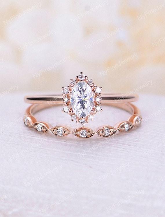 Vintage Engagement Ring Set Oval Cut Moissanite Engagement Etsy