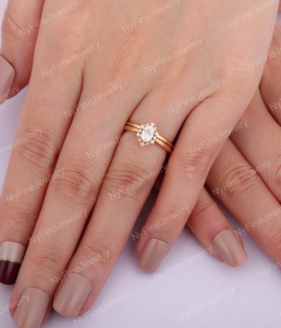 Vintage Engagement Ring Set Oval Moissanite Engagement Ring Etsy