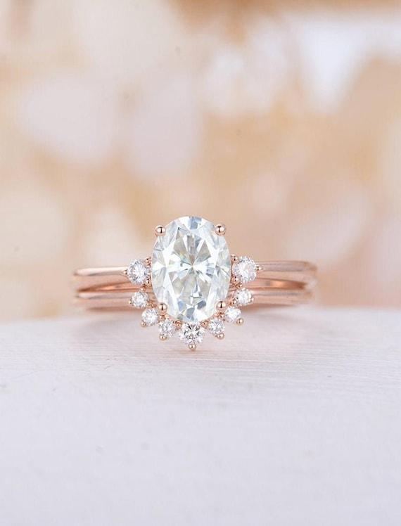 Oval Moissanite Engagement Ring Set Rose Gold Engagement Ring Etsy