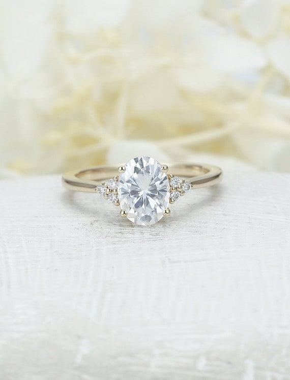 Moissanite Engagement Ring Yellow Gold Engagement Ring Vintage Etsy